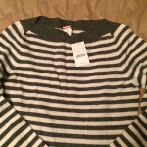 J. CREW Striped Cashmere Boat Neck Sweater XS